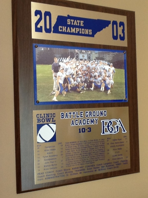BGA Championship plaque